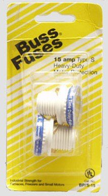 Bussmann BP/S-15 15 Amp Type S Time-Delay Dual-Element Plug Fuse Rejection Base, 125V UL Listed Carded ()