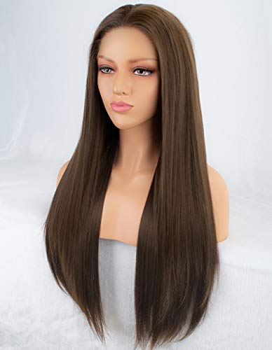 Persephone Glueless Brown Lace Front Wig Straight Long Brown Synthetic Wigs for Women with Free Part 24 Inches