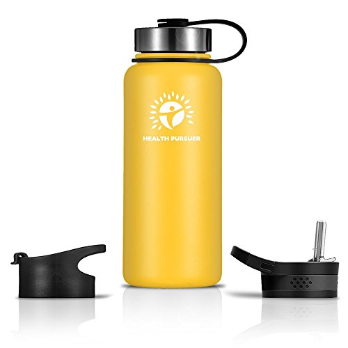 Stainless Steel Water Bottle/Thermos: ​40 Oz.​ Double Walled Vacuum Insulated Wide Mouth Travel Tumbler, Reusable BPA Free Twist Lid Bottles for Hot or Cold Liquid: Bonus Flip & Straw Lids - ​Yellow