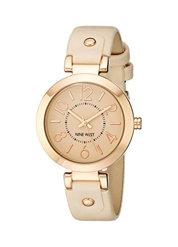 Nine West Womens NW1712PKRG Rose Gold-Tone Case Blush Pink Strap Watch