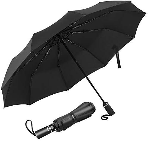 Newdora Paraguas Plegable Automático Negro Impermeable 10 Armazones de Metal Compacto Resistencia contra Viento para Viaje para Hombres y Mujeres