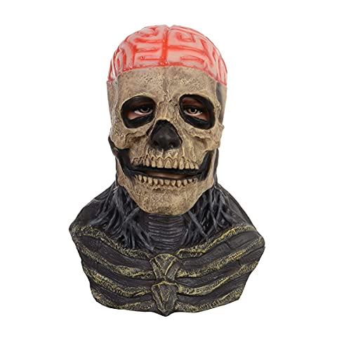 Scary Halloween Mask, Full Head Skull Mask with Movable Jaw, Head Realistic Latex Mask Helmet Horror Scary Cosplay Costume Scary Mask Realistic Mask Scary Masks for Adults Scary Face Mask Without Hat