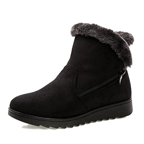 Dear Time Women Winter Warm Button Snow Boots (US 8, Black Zipper)
