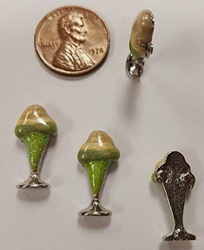 3 ICE Cream Sundae Mocca Enamel Green Sparkle Cup 20x10mm CABOCHON FINDINGS HDRY- 1579