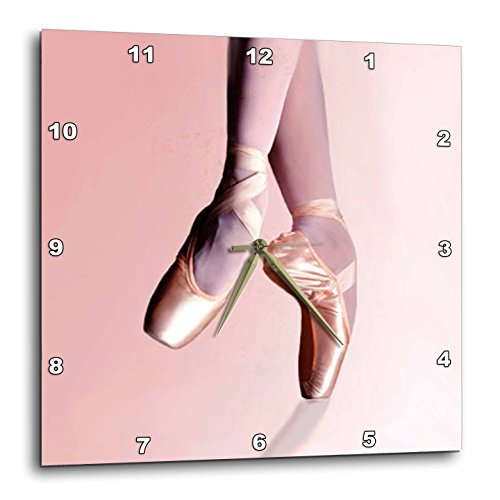 (3dRose Ballet Slippers Wall Clock, 10 by 10-Inch)