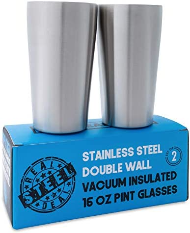 100 Stainless Steel Pint Glasses product image