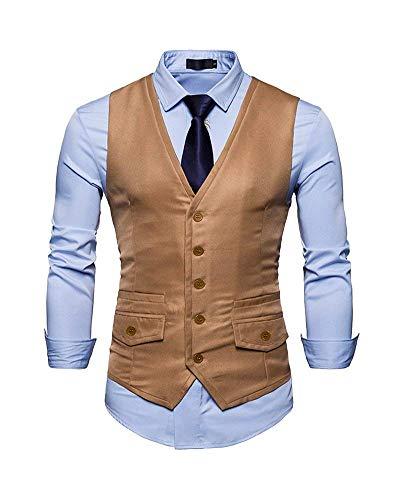 Hommes Court Slim Costume Gilet Col Boyfriend Coupe Pour V Simple Mieuid Kaki Boutonnage UYFn865wwq