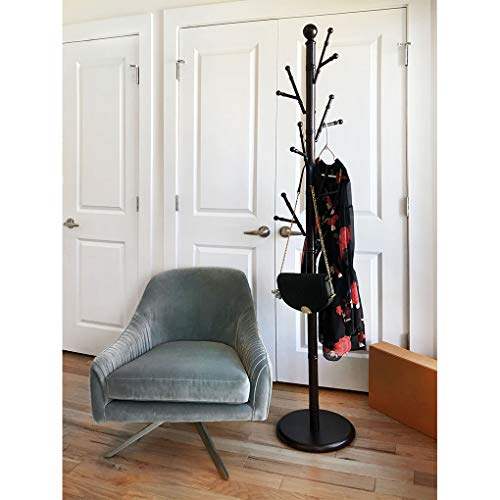 "KennynElvis 12.6"" diameter Bamboo Style Metal Coat Rack by MHC, Steel with powder coating, Cupreous"