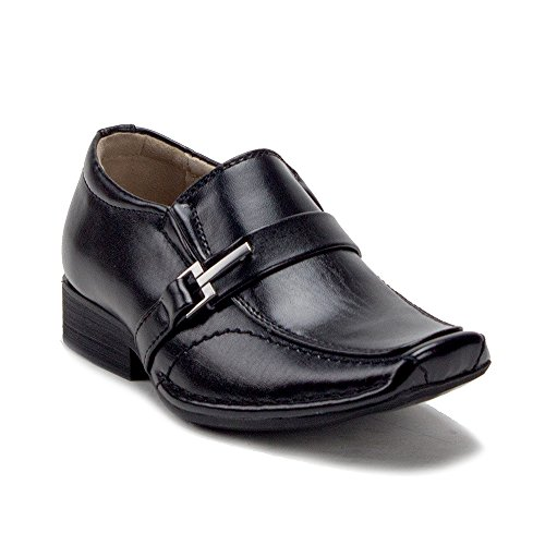 Designer Little Formal Boys Shoes Wear Kids Loafers 31287 Buckle Dress On Black Slip FwFOXzx
