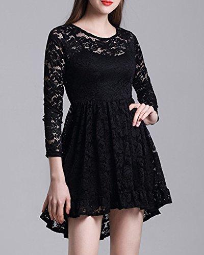 En Robes Bal Dentelle Swing Demoiselle Manches Cocktail Pour Femmes Noir Kenancy Robe D'honneur Mariage De Dress Longues ItwrXt