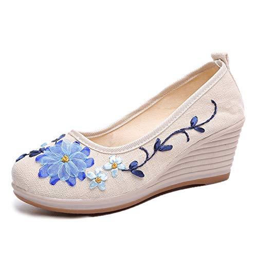 Color de Slip de Mujeres Flores Pumps 39 EU tacón tamaño cuña Zapatos Beige on Blanco de Comfort algodón ZHRUI gpfOp