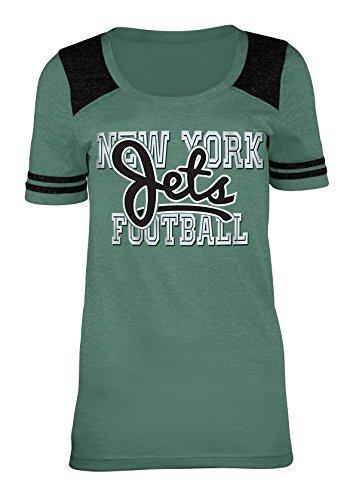 A-Team Apparel NFL New York Jets Women's Tri-Blend Jersey Scoop Neck Tee, Medium, ()