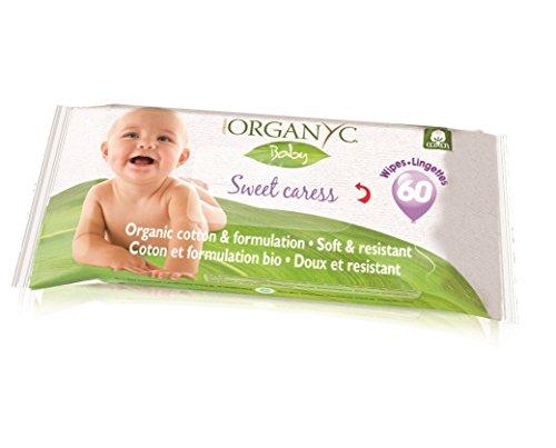 Toallitas de algodón orgánico para bebé, 60 unidades
