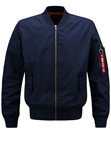 Lentta Men's Casual Autumn Thin Baseball Bomber Short Aviator Flight Zip Jacket (Small, Dark Blue) by Lentta
