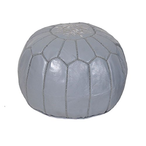 Moroccan Pouf Ottoman Footstool (Leather) Genuine Hand-Stitched Seating | Unstuffed | Living Room, Bedroom, Sitting Area | Grey | Exclusive Designs by Moroccan Home