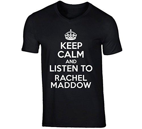 Talk Radio T-shirt (Keep Calm and Listen To Rachel Maddow Talk Show Radio Host V-Neck T Shirt M Black)