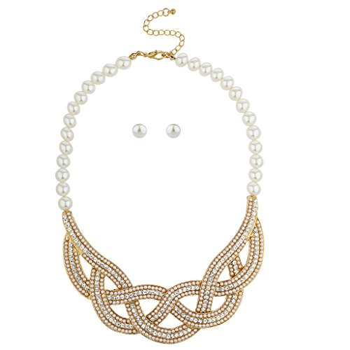 Lux Accessories Gold Tone and Pearl Swirl Statement Bib Necklace