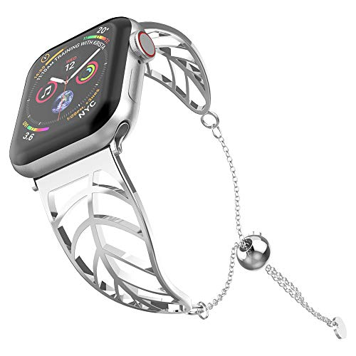 UooMoo Stainless Steel Band Compatible Apple Watch 38mm/40mm, Women Girls Jewelry Metal Strap Bangle Cuff Bracelet with Adjustable Tassels Clasp Compatible Apple Watch Series 1/2/3/4 -Silver