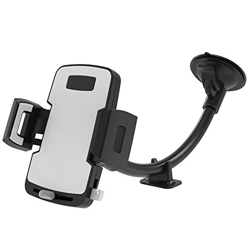 Car Phone Holder, F-color Long Arm Car Phone Mount with Stabilizer, Release Button and Suction Cup, Cell Phone Holder Compatible with iPhone Xs,XR,X,8,8P,7P, Samsung Galaxy S10,S9,S8, GPS Devices