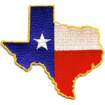 Texas State Shaped iron-on embroidered patch