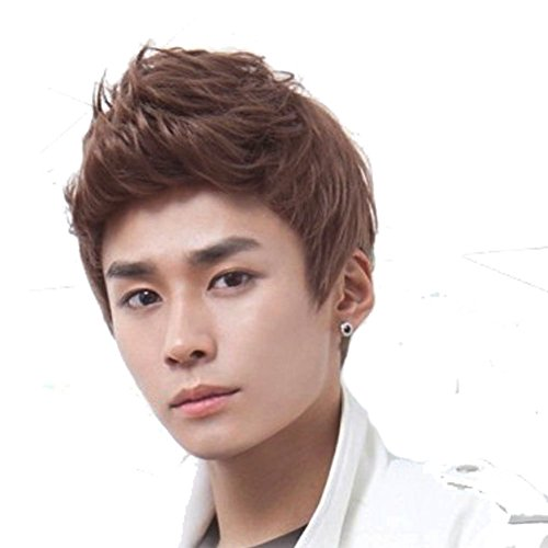 Short Brown Wig (RightOn New Fashion Cool Mans Boys Short Wig with Free Wig Cap (Deep Brown))