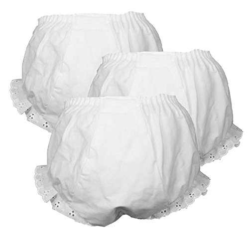 Girls White Double Seat Panty Cotton Blend 3 Pack NWT Sizes 1 2 3 4 5 6 ICM (3) (Panties Fancy Baby)