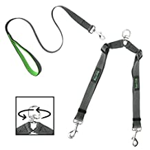 Mighty Paw Double Dog Leash, Two Dog Adjustable Length Dog Lead, Premium Quality No-Tangle Leash for 2 dogs (With Handle, Grey)
