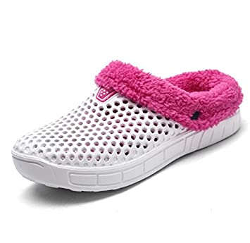 Beauqueen Inicio Crocs Zapatillas Zapatillas Sweet Pink Hollow Warm Folding Suelas Antideslizantes Zapatillas Casual Mujeres Soft Artificial Short Felpa: ...