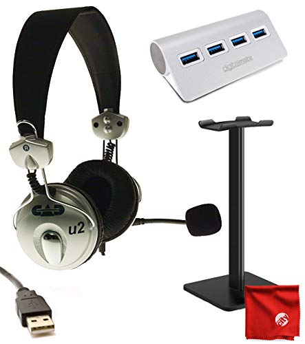 CAD Audio USB U2 Stereo Headphones with Cardioid Condenser Microphone Bundle with Headphone Stand & 4 Port USB Hub
