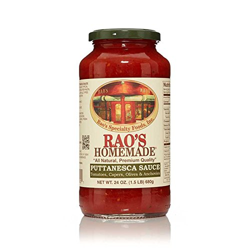 Anchovy Pasta Sauce (Rao's Specialty Foods, Puttanesca Sauce, Pack of 1, Classic Italian Tomato Sauce with Anchovies and Capers, Great on Pasta and Seafood, Made With Fresh Italian Tomatoes and Basil, No Sugar Added)