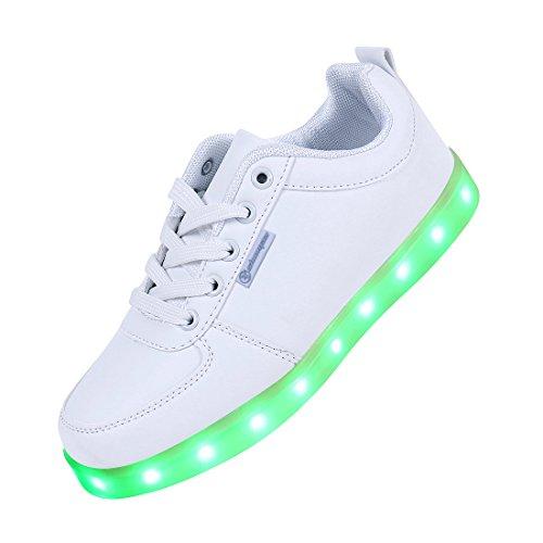 7Farbe Unisex Herren Damen USB Ladekabel LED Licht beleuchtet Blinkern Schuhe Sports Sneaker weiß (Schiff durch DHL 5–