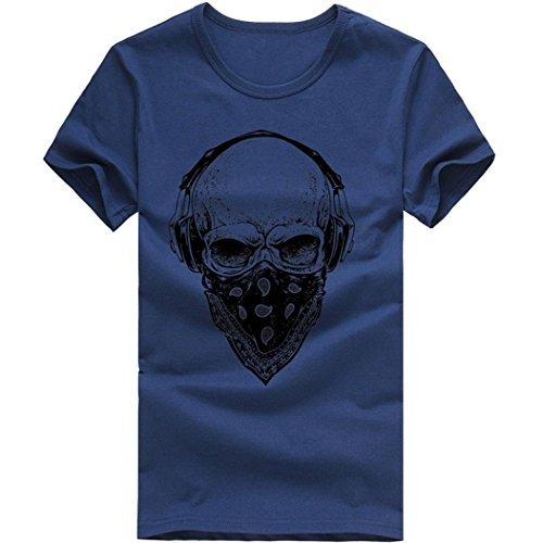 Men Blouse,Stylish Hip-hop Skull Print T-Shirt Headset Party Tank Top Clothes Axchongery (L, Navy) (Mens Graphic Applique Polos)