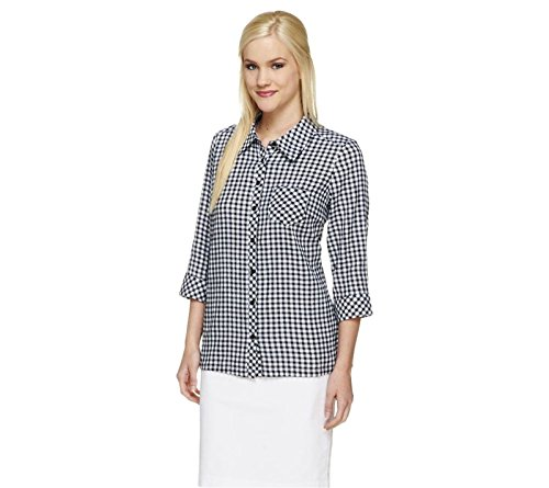Denim & Co Gingham Check Button Front Stretch Blouse Pocket Black XL New A253733 (Co Button Front)