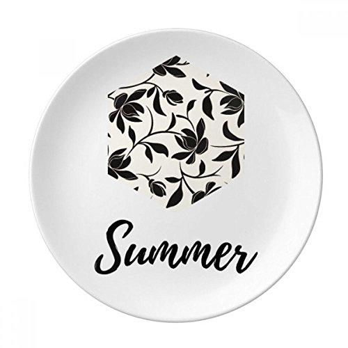 Flower Vine Drawing Art Plant Decorative Porcelain Dessert Plate 10 inch Dinner Home Gift (Vine Dessert)