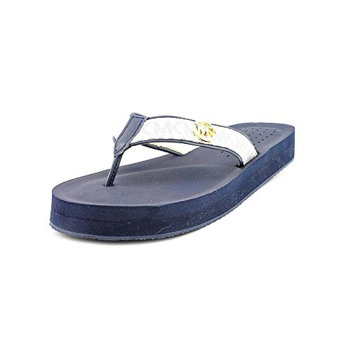 Thongs Kors Michael Leather (MICHAEL Michael Kors Women's Gage Flip Flop White/Navy 7 M)
