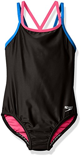 Speedo Girls Crossback One Piece Swimsuit, Size 10, Speedo Black