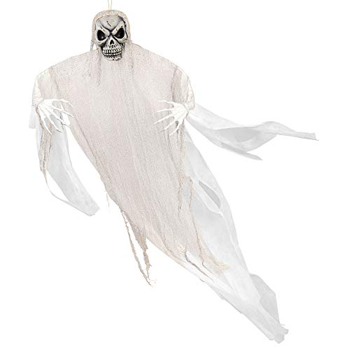 Amscan Giant Spooky White Reaper Decoration, Hanging Prop Features a Skull Face and Poseable Arms, Measures 7 Feet Tall