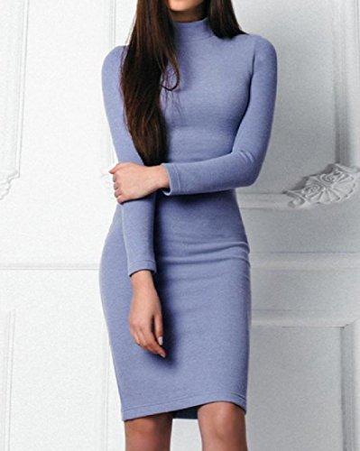 Coolred-femmes Solide Classique Col Roulé Robe De Soirée De Fête Tricot Bleu