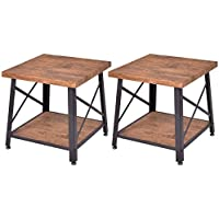 Set of 2 Coffee Table Cocktail End Table Metal Frame Wood Top W/ Storage Shelf
