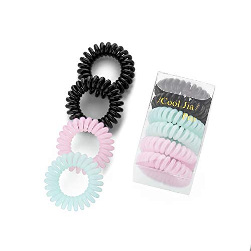 Coil Wire Head - 4.1cm Telephone Wire Elastic Hair Band Bracelet Headband Rubber Hair Tie Ring Accessory (Black/Green/Pink)