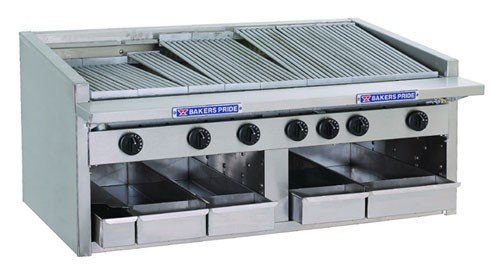 Liquid Propane Bakers Pride L-36R Gas Countertop Radiant Charbroiler High Performance Low Profile 36 Bakers Pride Countertop Charbroiler