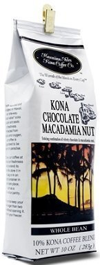Hawaiian Isles Kona Coffee Bean Chocolate Macadamia 4 Bags with Bonus Hawaiian Tropical Tea by Hawaiian Isles Coffee