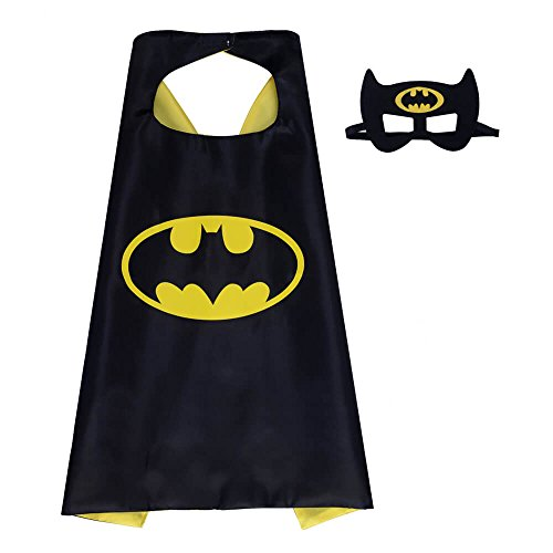 Pawbonds Halloween Costume Superhero Dress Up for Kids - Best Christmas, Birthday Gift, Cosplay Party. Satin Cape and Felt Mask Role Play Set. Cartoon Outfit for Boys and Girls (Batman) -