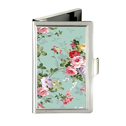 - RUNDO Vintage Floral Flowers Custom Personalized Stainless Steel Business box Name Case Holder Identity Card Wallet (Silver)