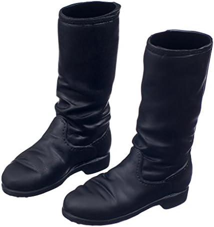 【ノーブランド 品】1/6スケール フラット ロング ブーツ 靴 黒 12インチ 女性 アクセサリー 贈り物