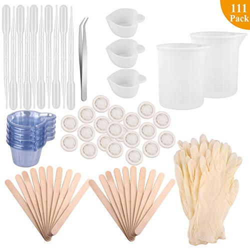 Epoxy Resin Cups with Sticks Kit - Tuyounger Resin Tool Kit,2pcs 100ml Measuring Cups, 3pcs Heart Dispensing Cups,50pcs Disposable Cups,Dropping Pipette & Gloves for Resin, Paint ()