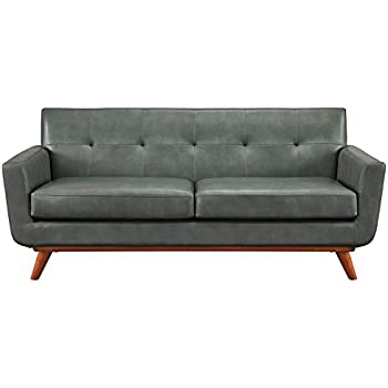 TOV Furniture The Lyon Collection Contemporary Style Eco Leather  Upholstered Living Room Loveseat, Smoke