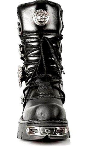 unisexe 391 Rock Bottes métallique gothique S1 New taille toute mollet noir Noir Reactor wfwFxZPn