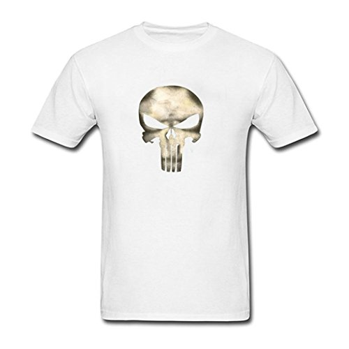 FY Apparel Men's Punisher Skull and Skeleton Compression Logo Tee T-shirt (XL White) (Quinn Jersey Cook)