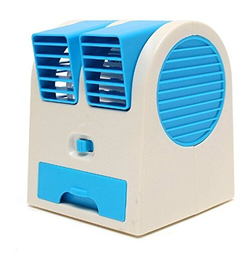 MeMeDa 5V 2.5W Mini USB Portable Dual Air Outlet Desktop Bladeless Air Conditioning Cooling Fan (Blue) (Air Conditioning Tents compare prices)